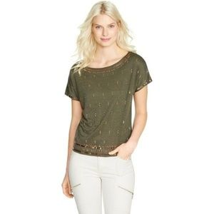 WHBM Sequin Embellished Green Linen Tee